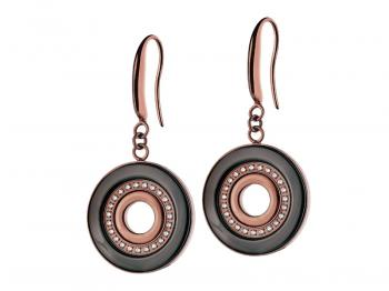 Stainless steel earrings with ceramic and cubic zirconias