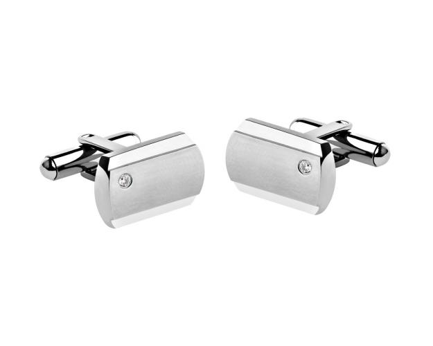 Stainless Steel Cufflinks with Cubic Zirconia