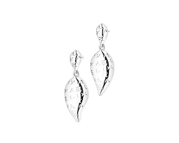 Rhodium-Plated Brass Earrings