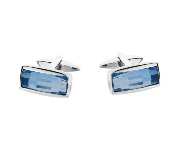 Stainless Steel Cufflink with Glass