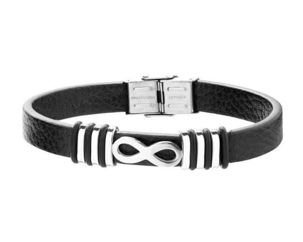 Stainless Steel, Leather, Rubber Bracelet