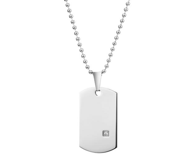 Stainless Steel Necklace with Cubic Zirconia