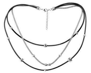 #Stainless Steel, Leather Necklace