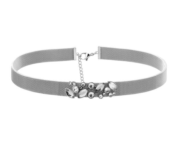 Stainless Steel Choker with Crystal