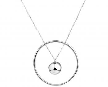 LONG STAINLESS STEEL NECKLACE with circle