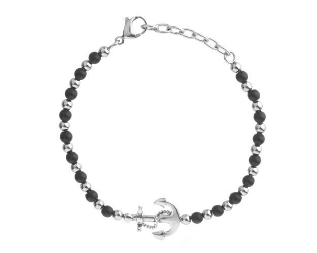 Stainless Steel Bracelet with Synthetical Onyx