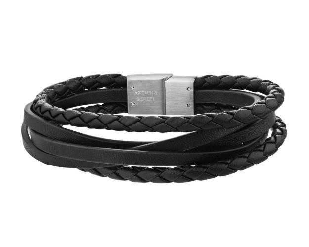 Stainless Steel Leather Strap Bracelet