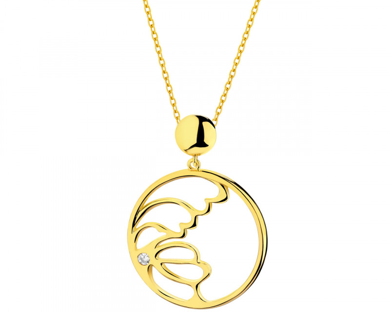 Gold plated brass pendant with cubic zirconia