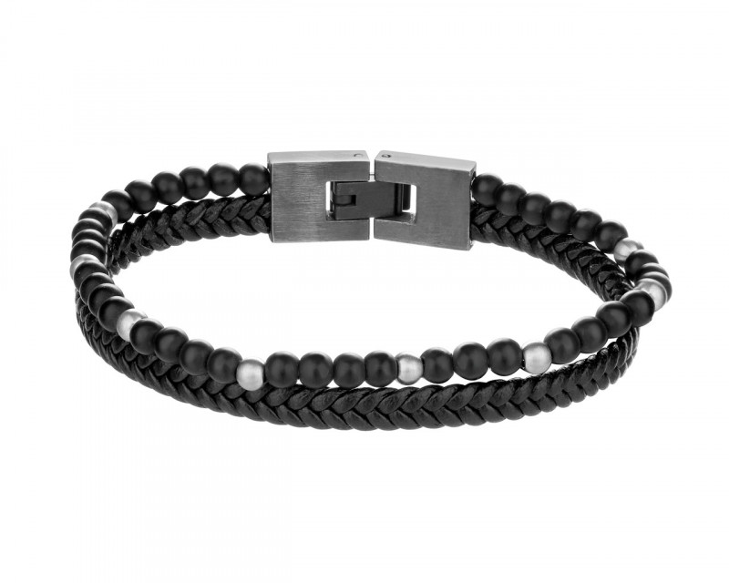 Stainless Steel Bracelet with Onyx