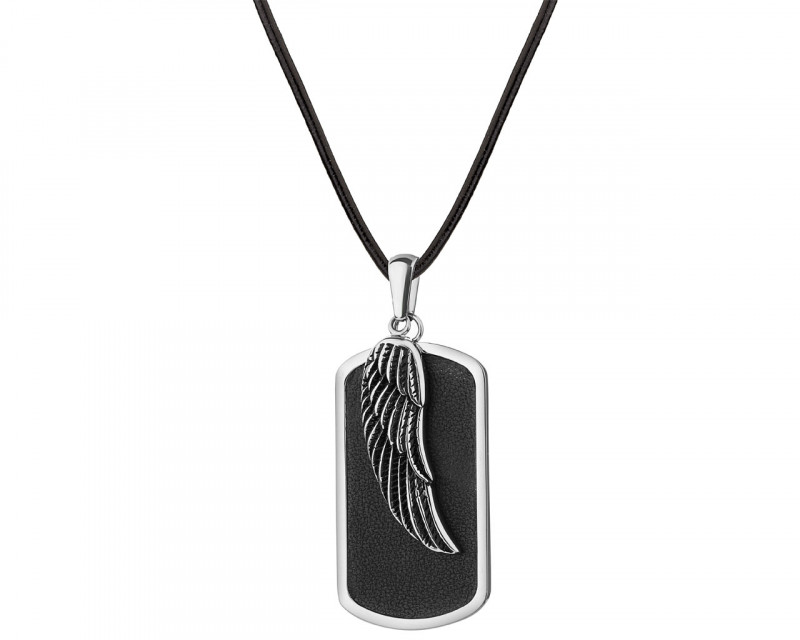 Stainless Steel Leather Necklace - Feather