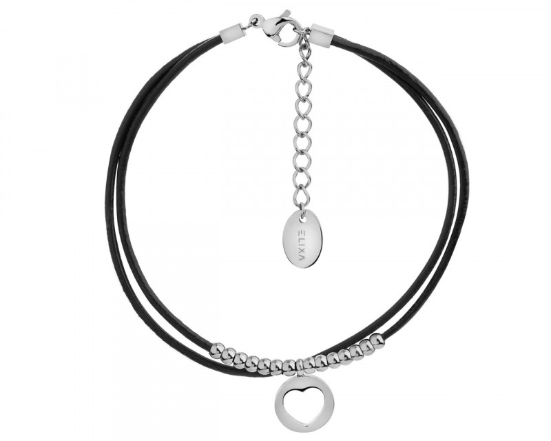 Stainless Steel & Leather Bracelet - Heart