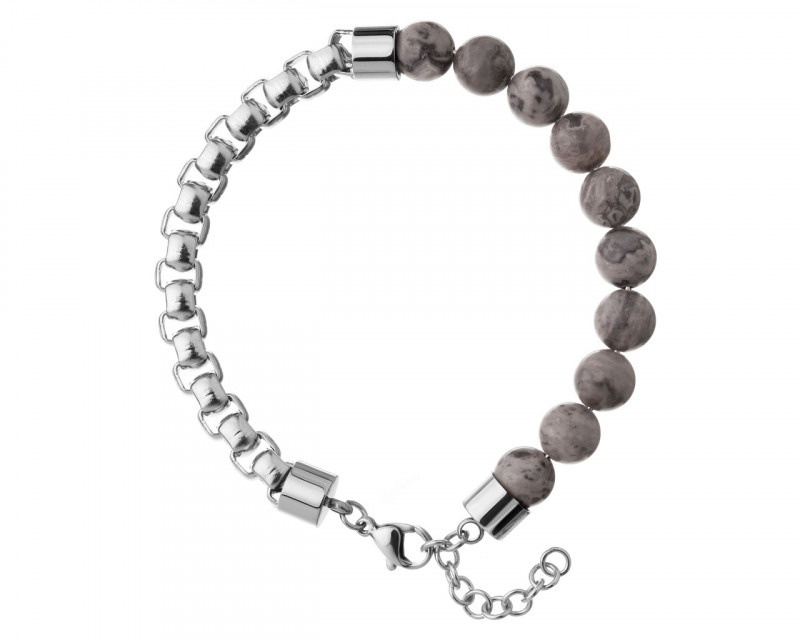 Stainless Steel Bracelet with Jasper