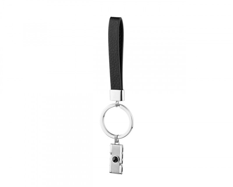Stainless Steel & Leather Key Ring with Agate