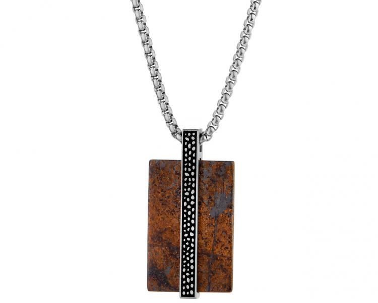 Stainless steel necklace with bronzite